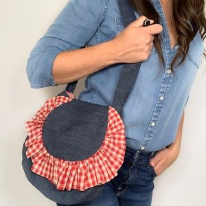 Denim Shoulder Bag Purse Gingham Ruffle Handmade